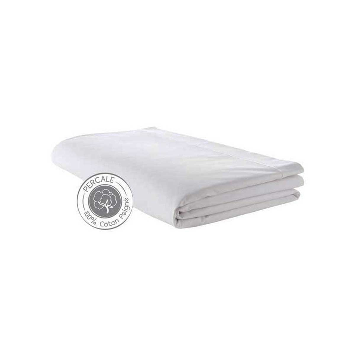 Drap percale 280 x 325 cm (Blanc)