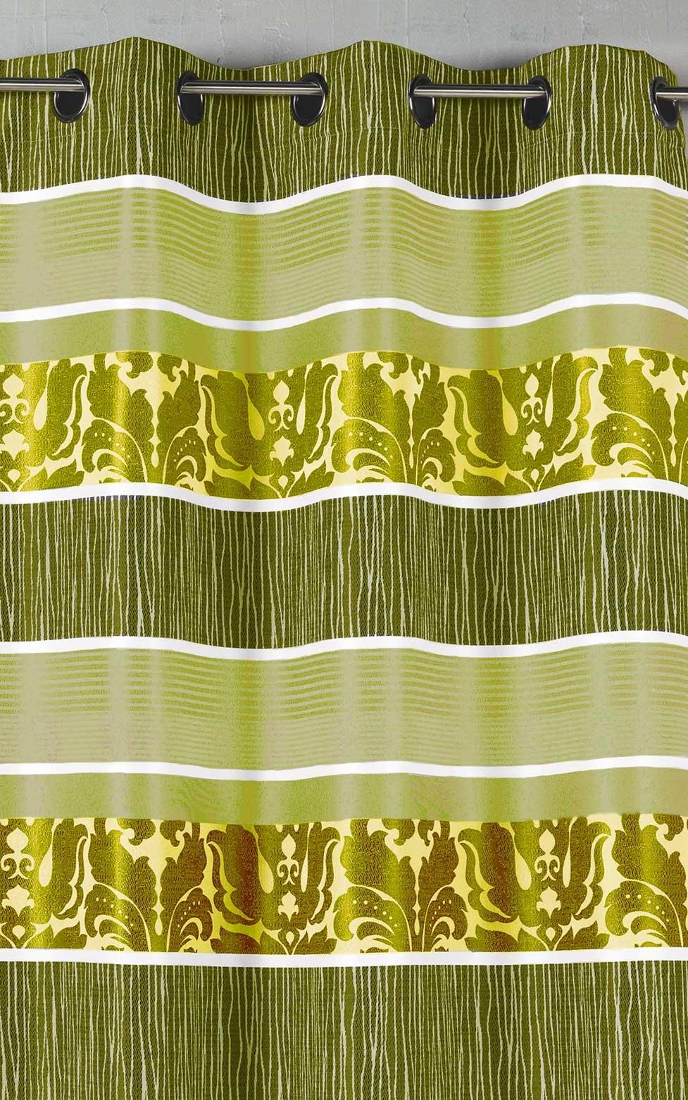 Rideau en jacquard à rayures horizontales colorées (Anis)