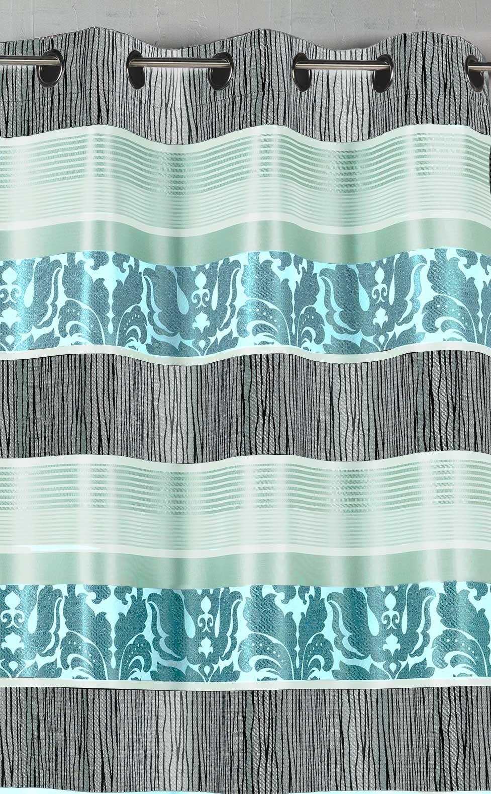 Rideau en jacquard à rayures horizontales colorées (Bleu)
