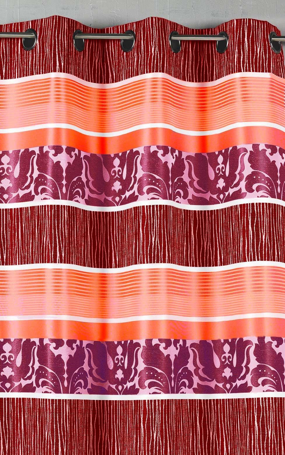 Rideau en jacquard à rayures horizontales colorées (Fuchsia)
