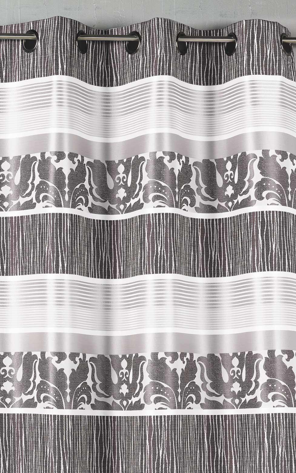 Rideau en jacquard à rayures horizontales colorées (Gris)