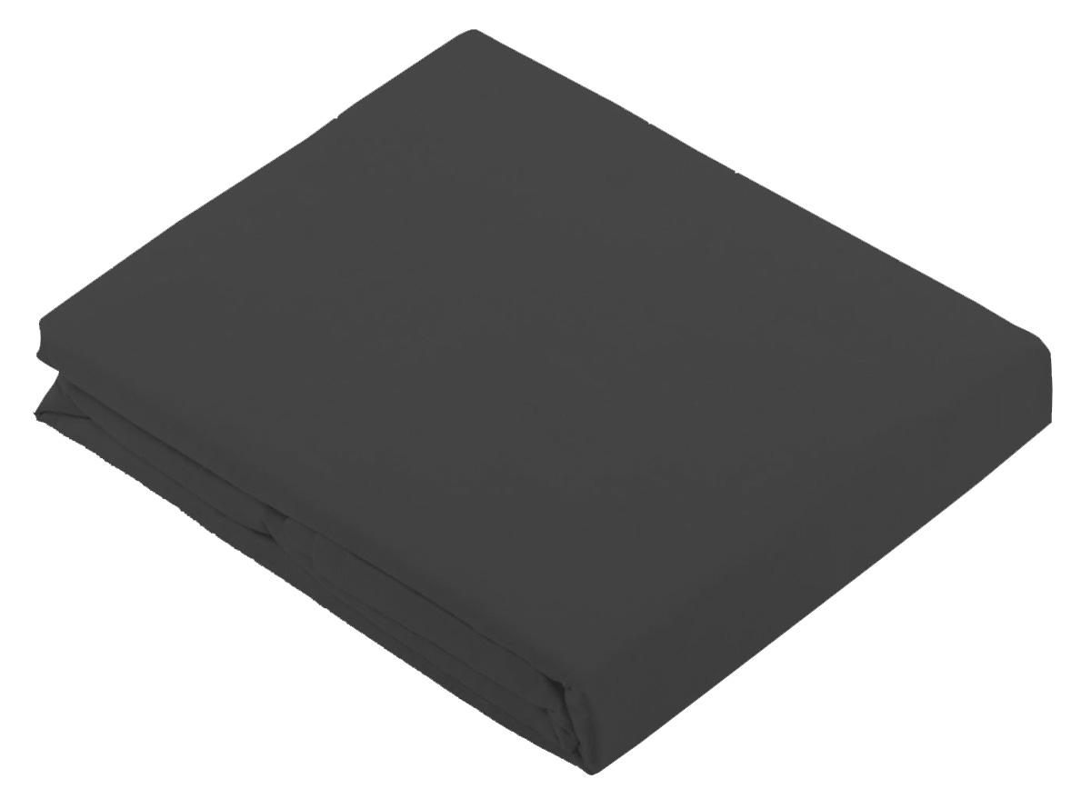Drap Plat Uni en 100 % Coton - CARBONE - 180 x 290 cm