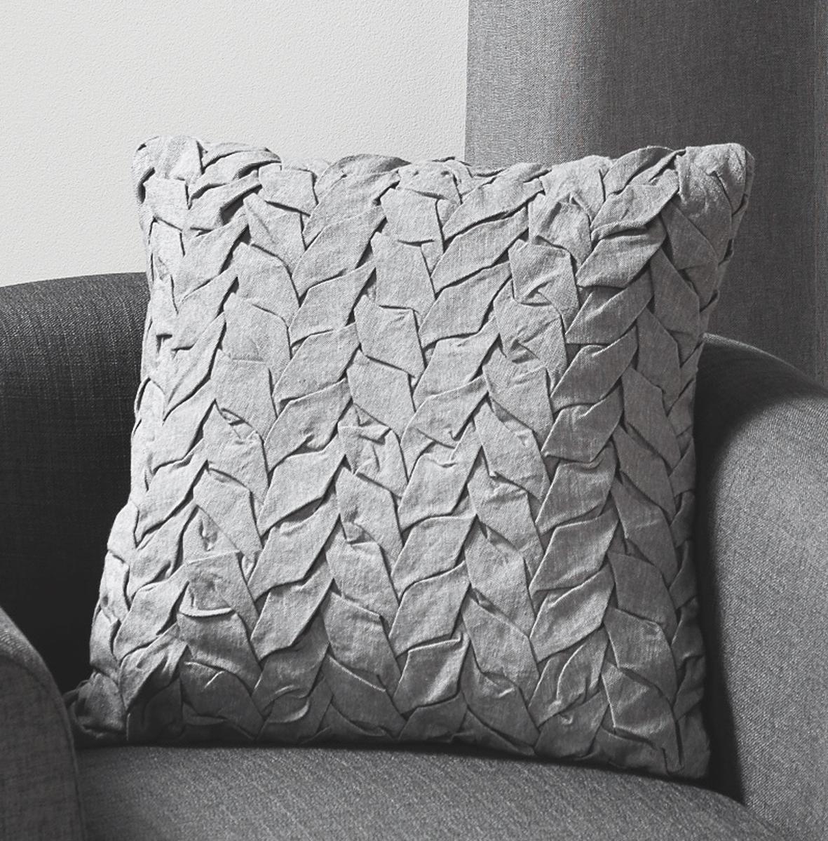 Coussin en toile de coton et jeu de plis gris (Gris)