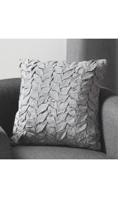 Coussin en toile de coton et jeu de plis gris