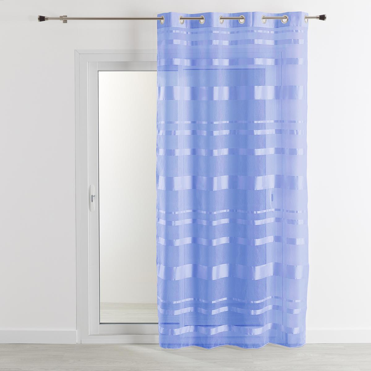 Voilage rayures horizontales (Bleu)