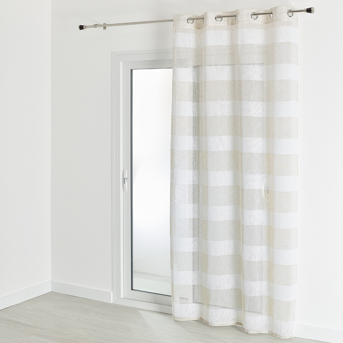 Voilage à rayures horizontales colorées - Beige - 140 x 240 cm