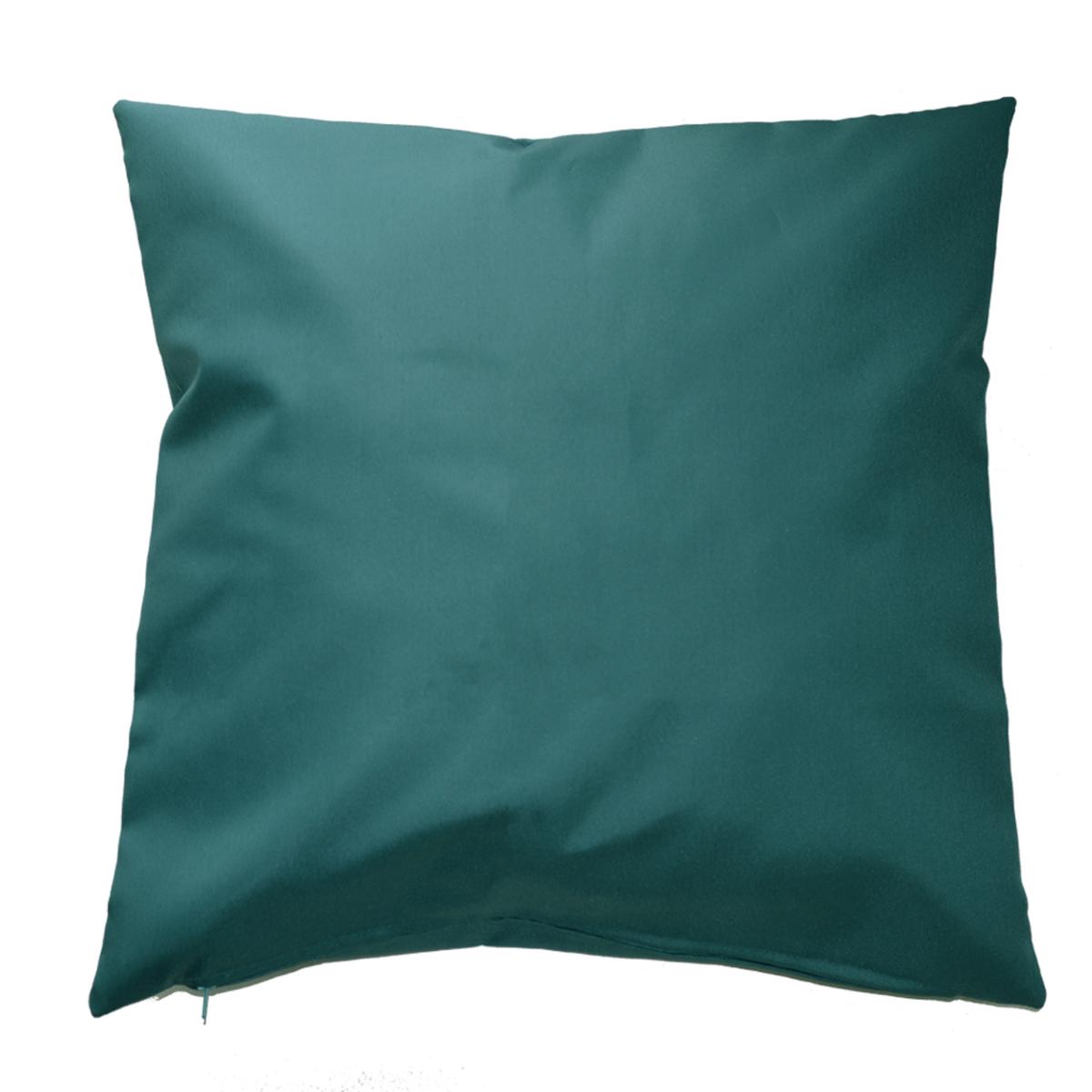 Housse de coussin d'extérieur en tissu outdoor - Bleu Paon - 60 x 60 cm
