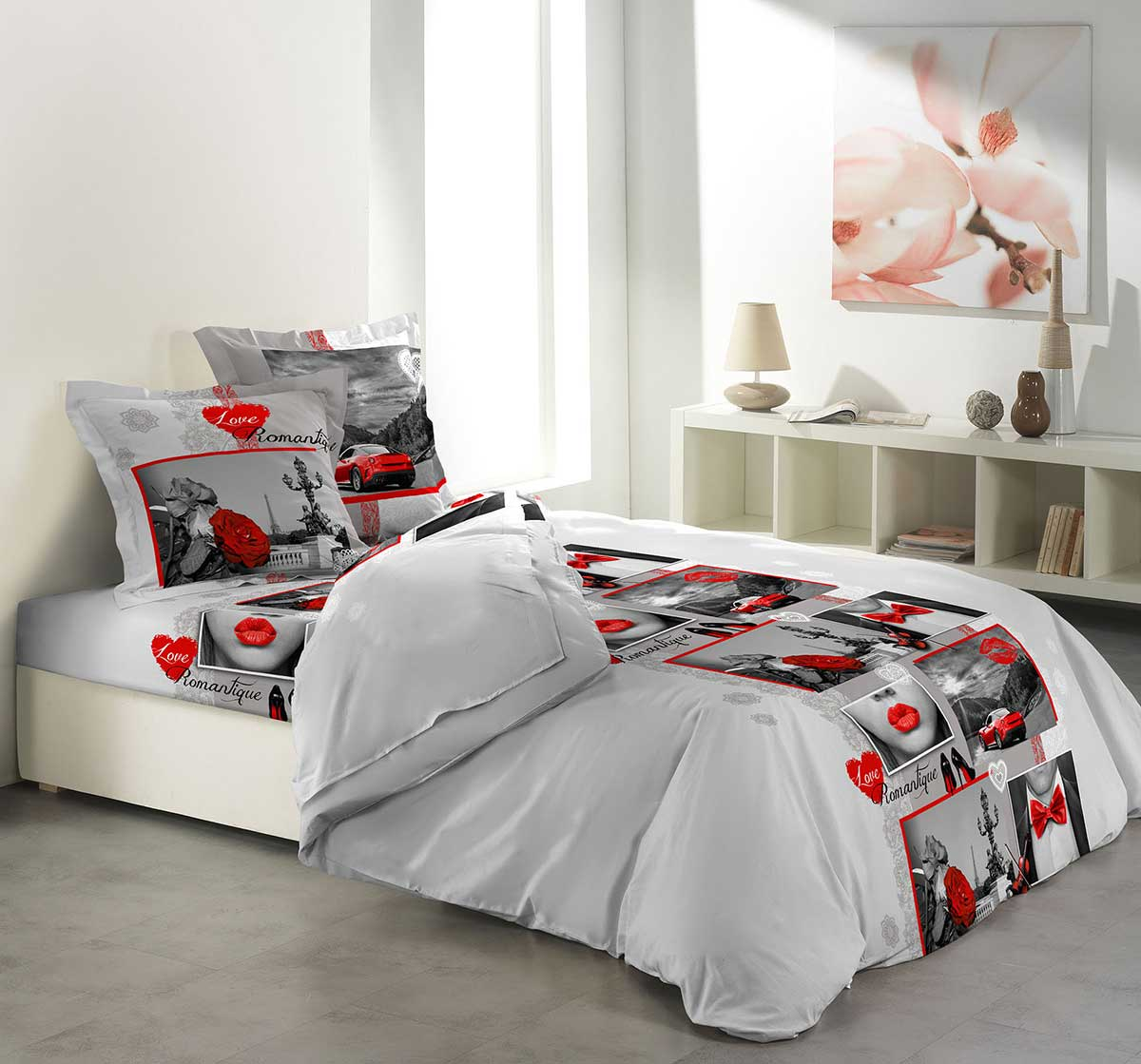 parure de draps clich romantique multicolor. Black Bedroom Furniture Sets. Home Design Ideas