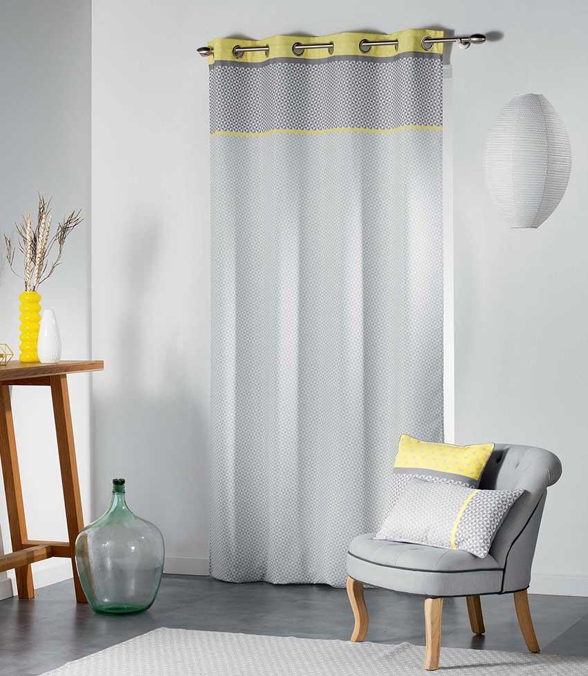 rideau ambiance art d co jaune menthe rose homemaison vente en ligne rideaux. Black Bedroom Furniture Sets. Home Design Ideas