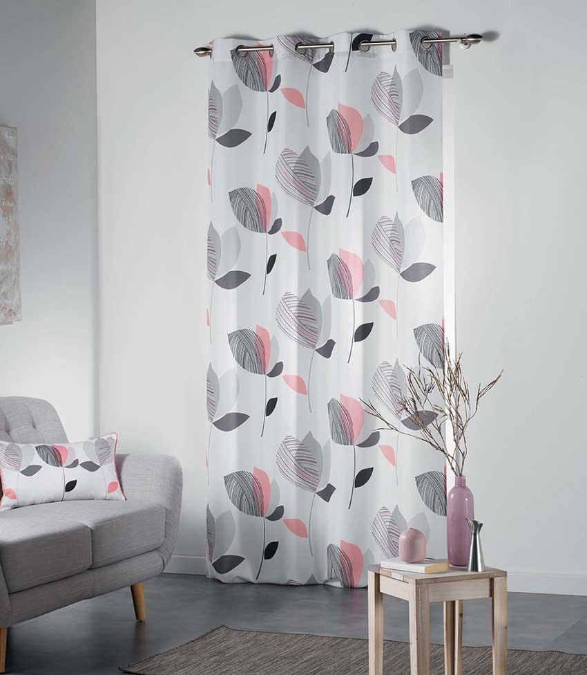 voilage illets motifs feuilles rose menthe jaune. Black Bedroom Furniture Sets. Home Design Ideas