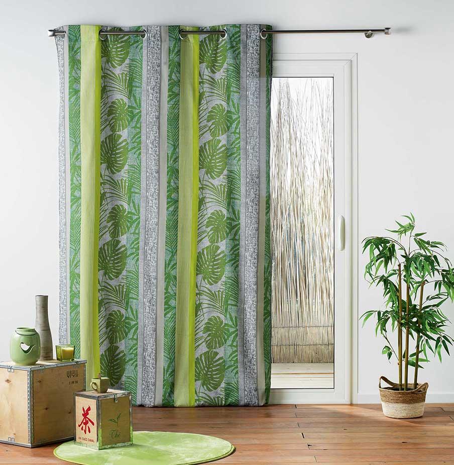 rideau ambiance jungle vert rose homemaison vente en ligne rideaux. Black Bedroom Furniture Sets. Home Design Ideas