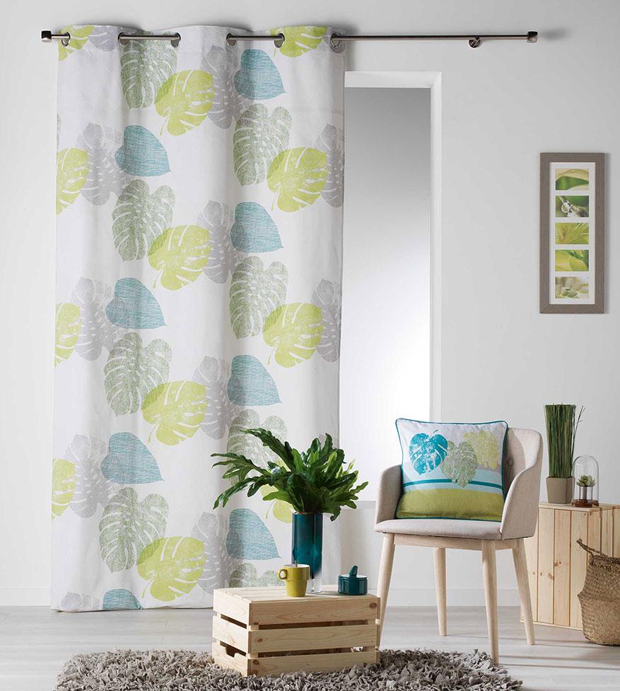 Rideau imprim s feuilles de bananier bleu corail for Rideaux imprimes