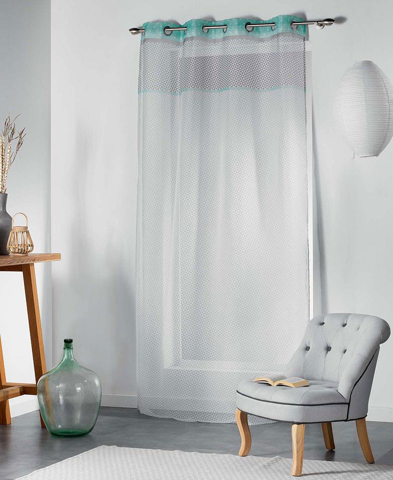 voilage ambiance art d co menthe rose jaune homemaison vente en ligne voilages. Black Bedroom Furniture Sets. Home Design Ideas