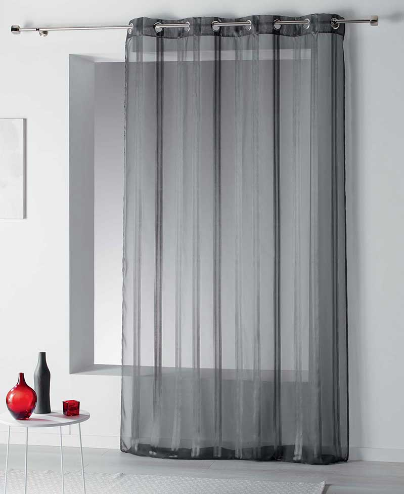voilage rayures l g rement satin es anthracite corail blanc gris jaune. Black Bedroom Furniture Sets. Home Design Ideas