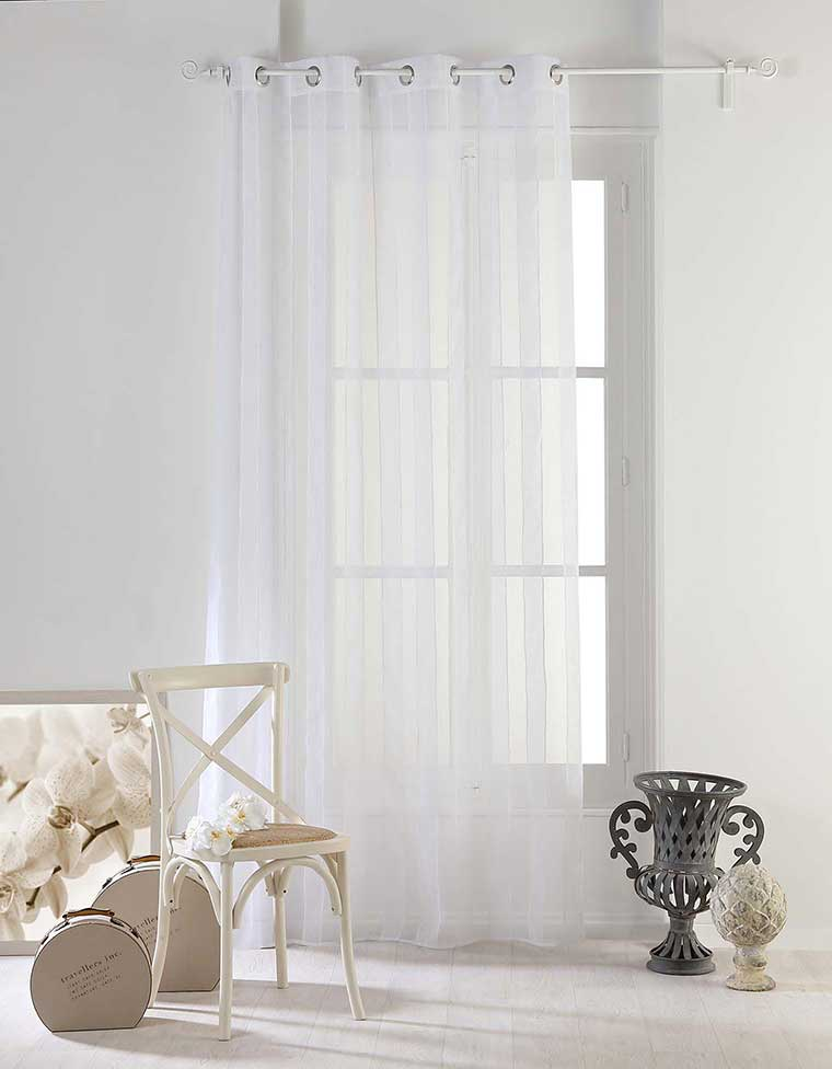 voilage aux d licates rayures blanc gris noisette anthracite homemaison vente en. Black Bedroom Furniture Sets. Home Design Ideas