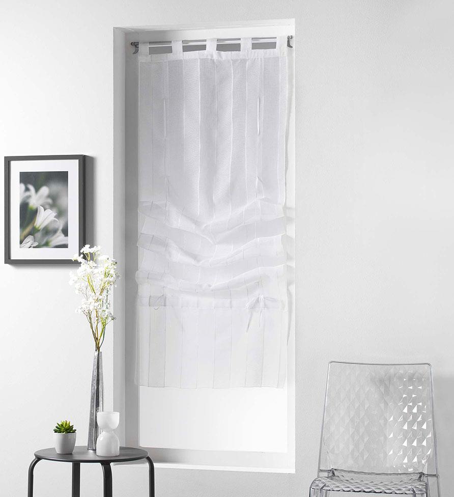 Store Droit aux Délicates Rayures - Blanc - 45 x 180 cm
