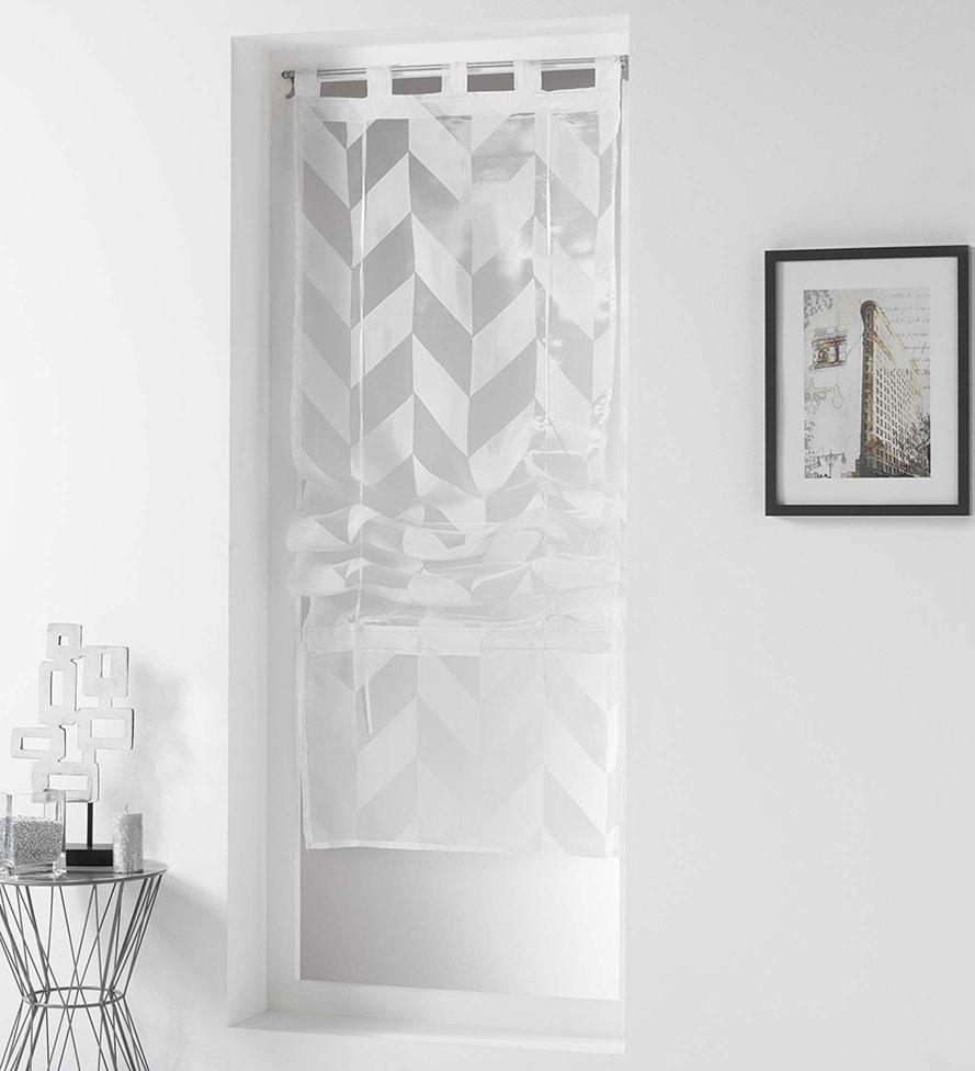 Store Droit Impressions Géométriques - Blanc - 90 x 180 cm