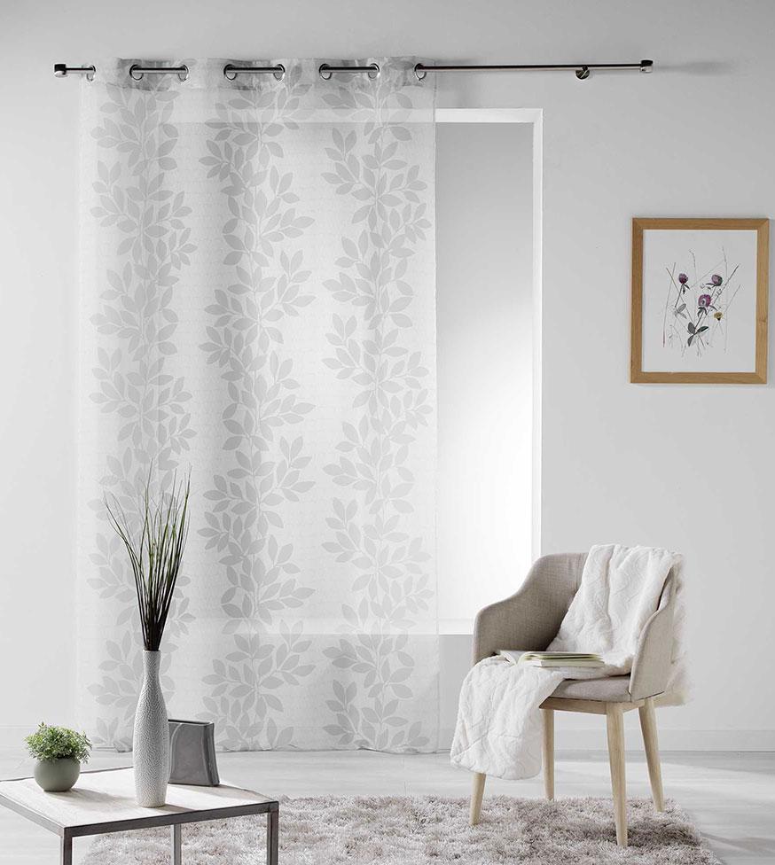 voilage rayures feuilles de laurier blanc taupe homemaison vente en ligne voilages. Black Bedroom Furniture Sets. Home Design Ideas