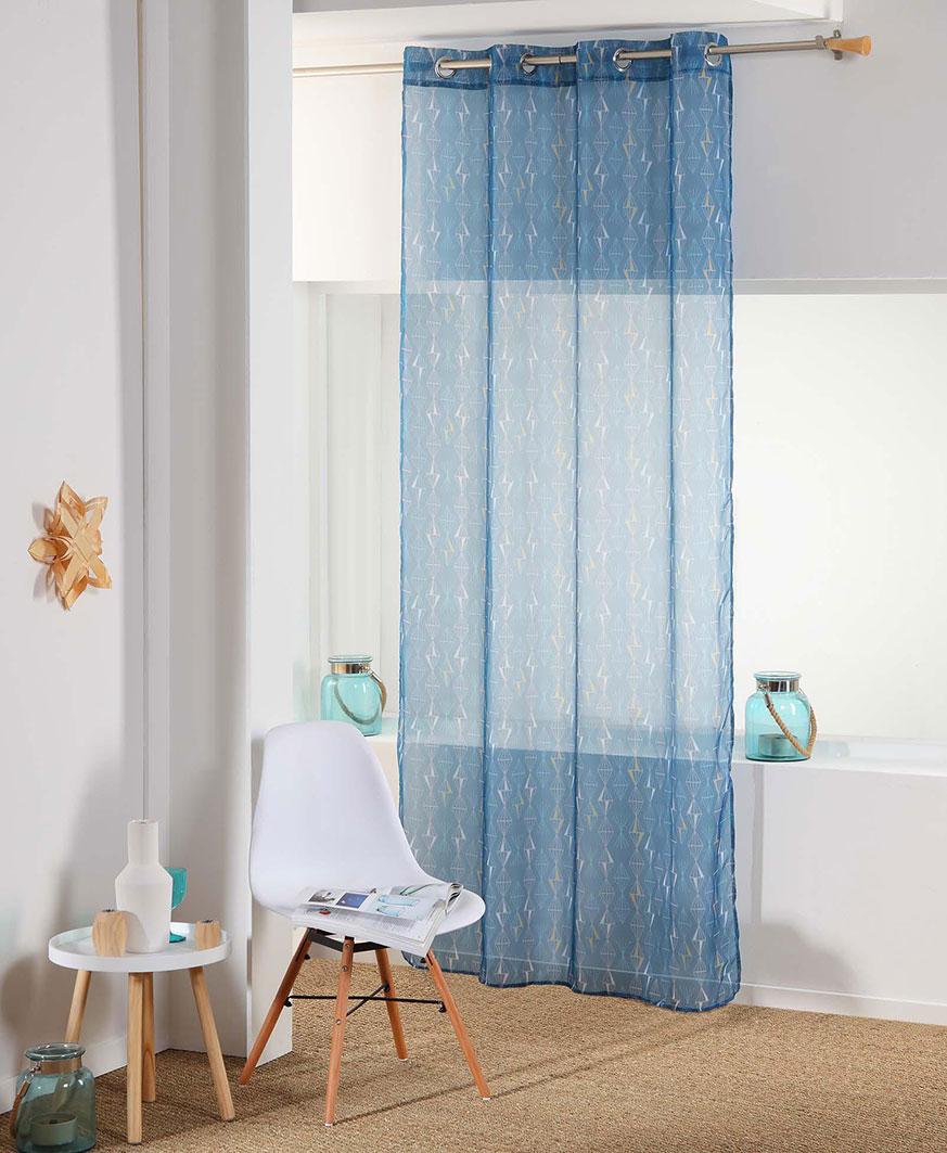 voilage illets tendance g om trique bleu blanc homemaison vente en ligne voilages. Black Bedroom Furniture Sets. Home Design Ideas