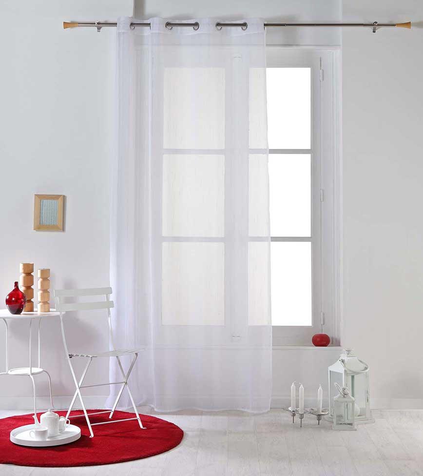 Voilage à Légères Rayures - Blanc - 140 x 260 cm