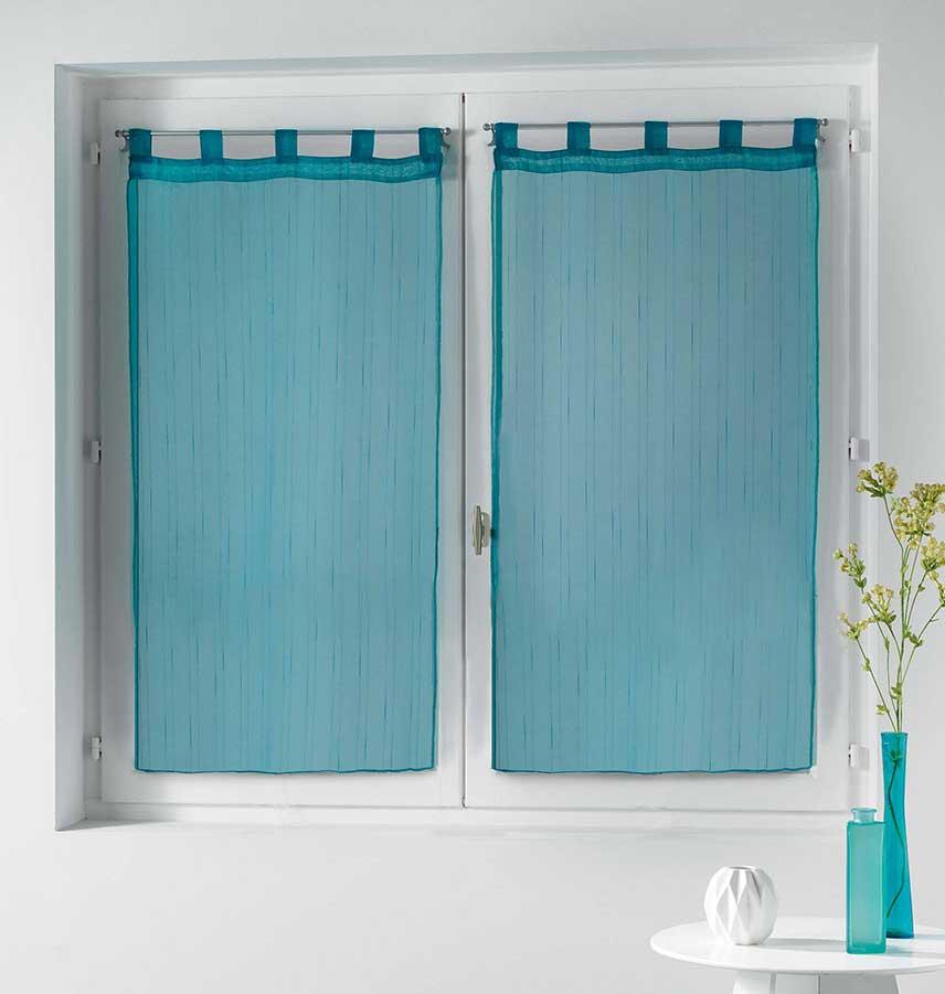 Paire de Voilages à Légères Rayures - Bleu - 2 x 60 x 90 cm