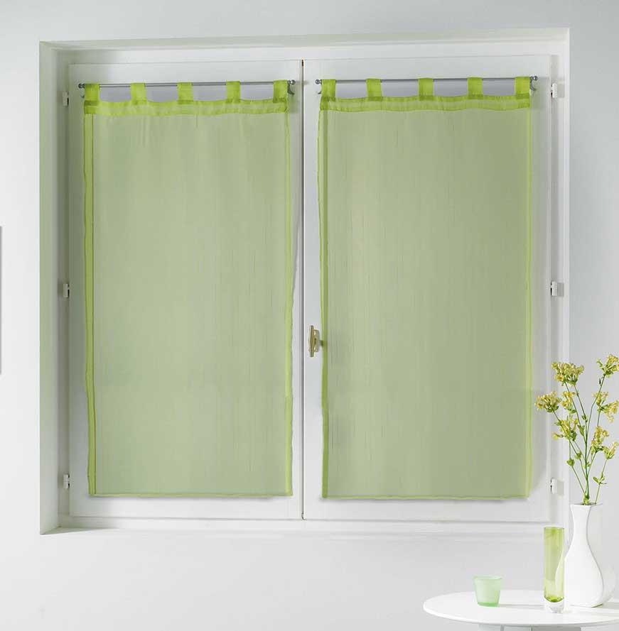 Paire de Voilages à Légères Rayures - Vert - 2 x 60 x 160 cm