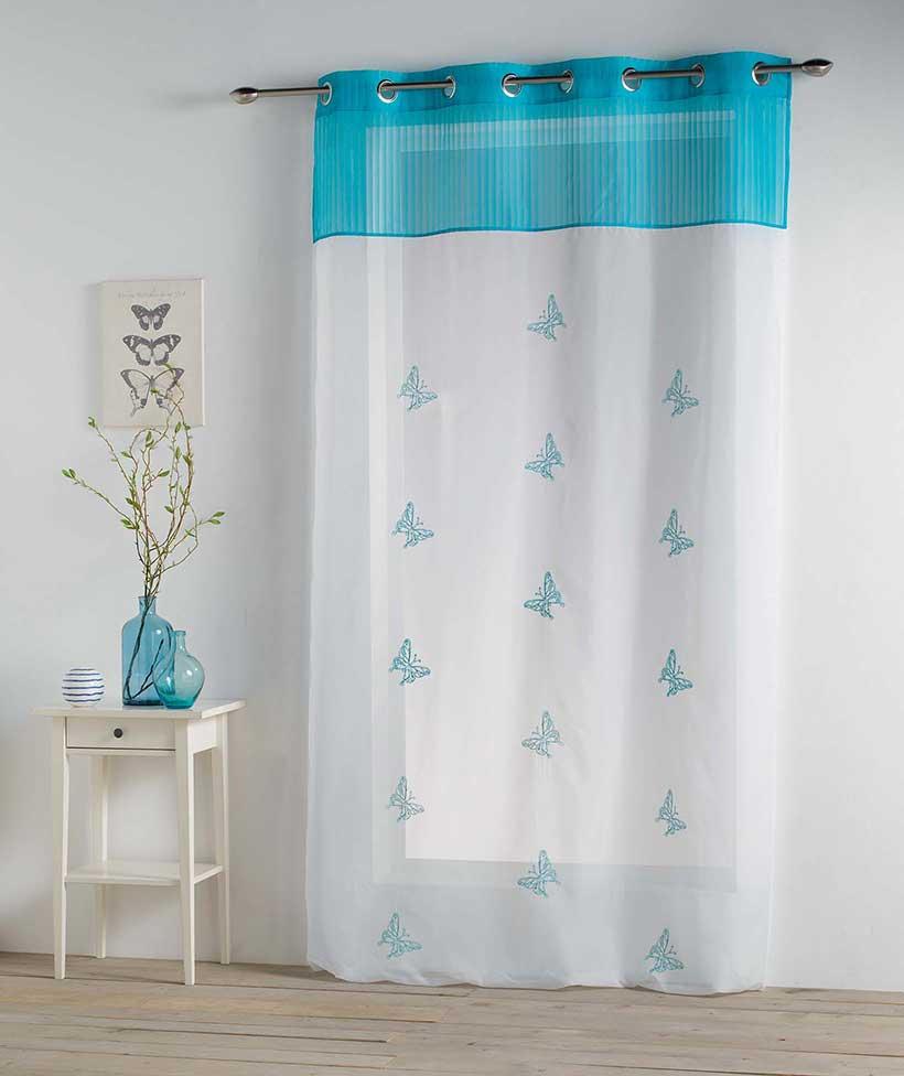 Voilage aux Papillons Brodés - Bleu - 140 x 240 cm