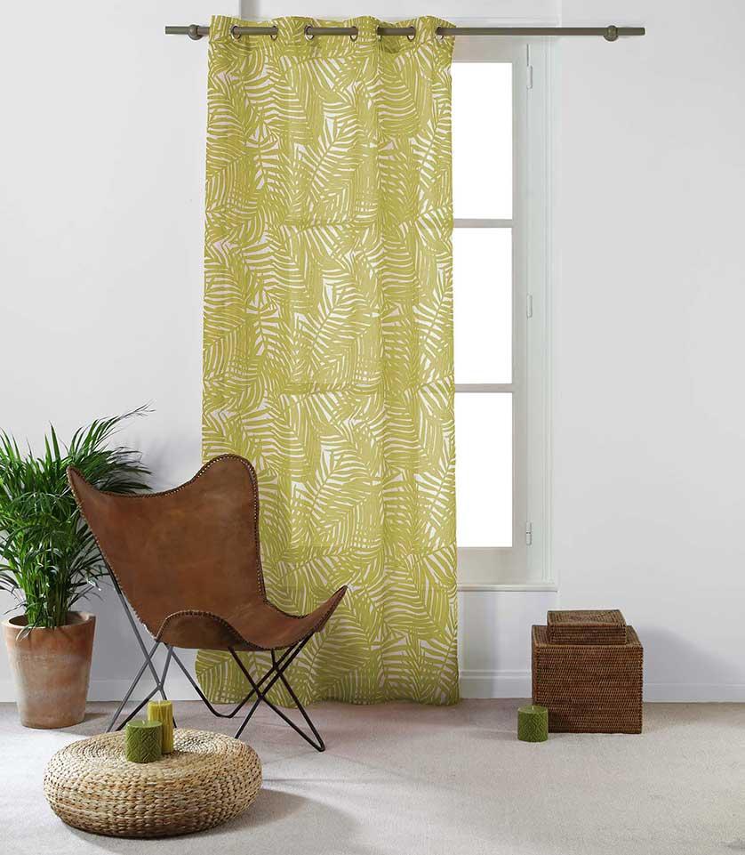 Voilage Imprimé Feuilles d'Eucalyptus - Jaune - 140 x 240 cm