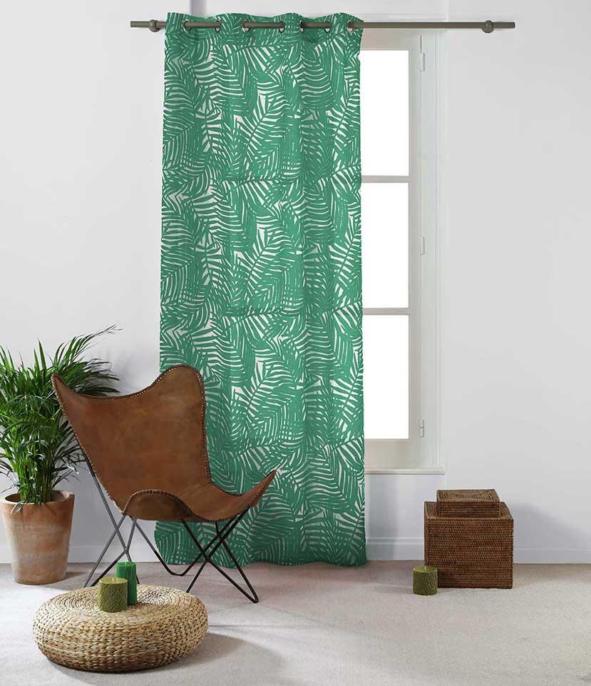 Voilage Imprimé Feuilles d'Eucalyptus - vert foncé - 140 x 240 cm