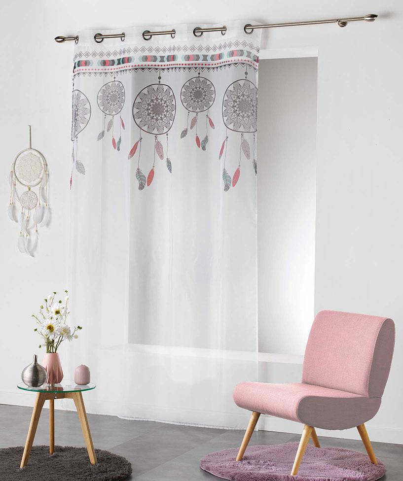 Voilage à illets Style Indien - Blanc/Menthe - 140 x 240 cm