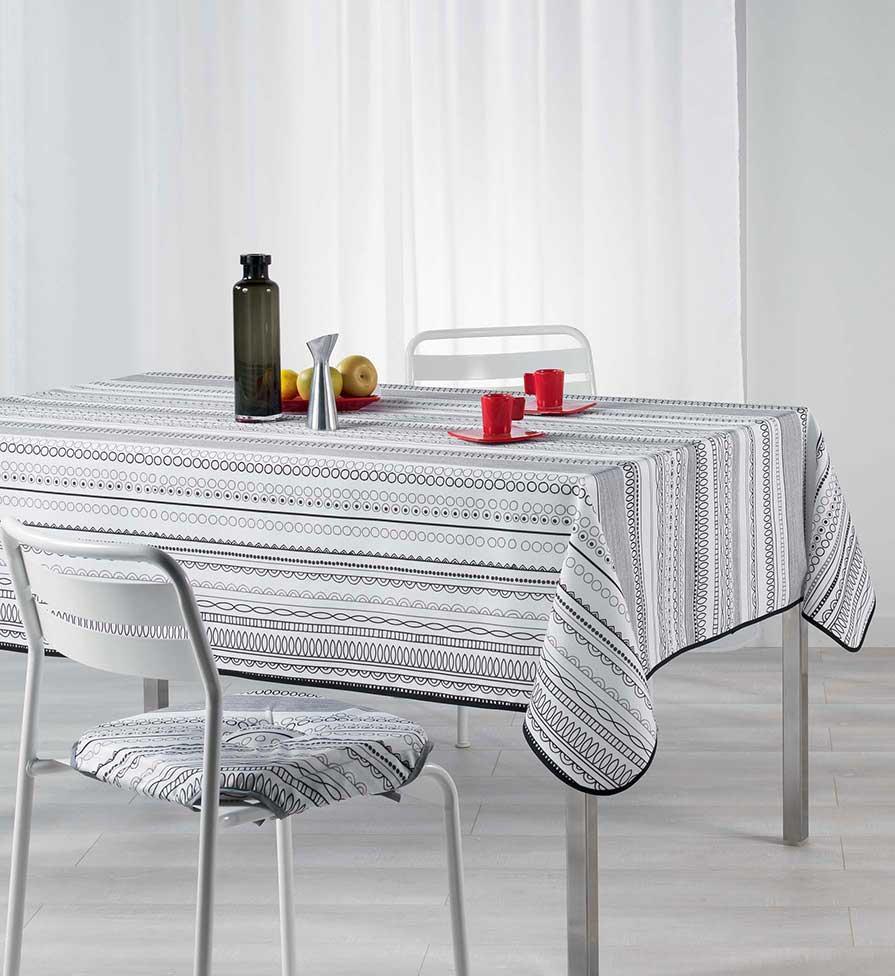 nappe rectangulaire motifs lin aires noir blanc multico homemaison vente en ligne. Black Bedroom Furniture Sets. Home Design Ideas