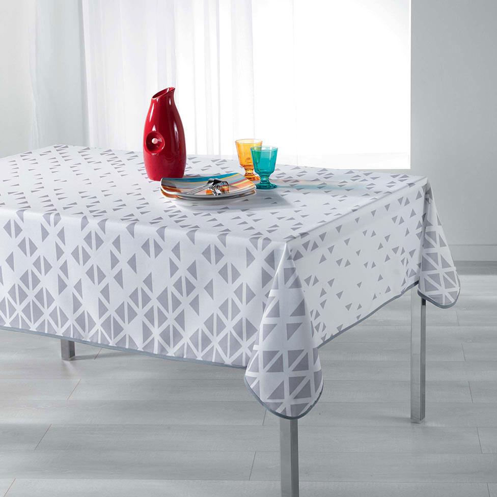 nappe esprit scandinave blanc taupe homemaison vente en ligne nappes rectangulaires. Black Bedroom Furniture Sets. Home Design Ideas