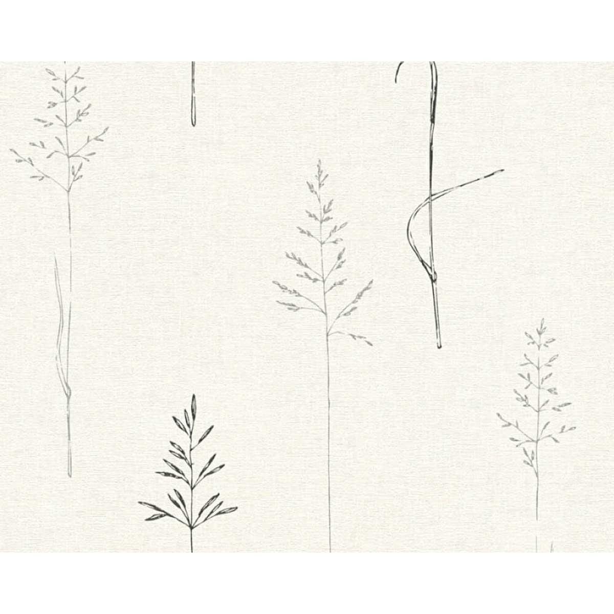 Papier peint impressions de graminés - Noir Blanc - 10 ml x 0,53 m