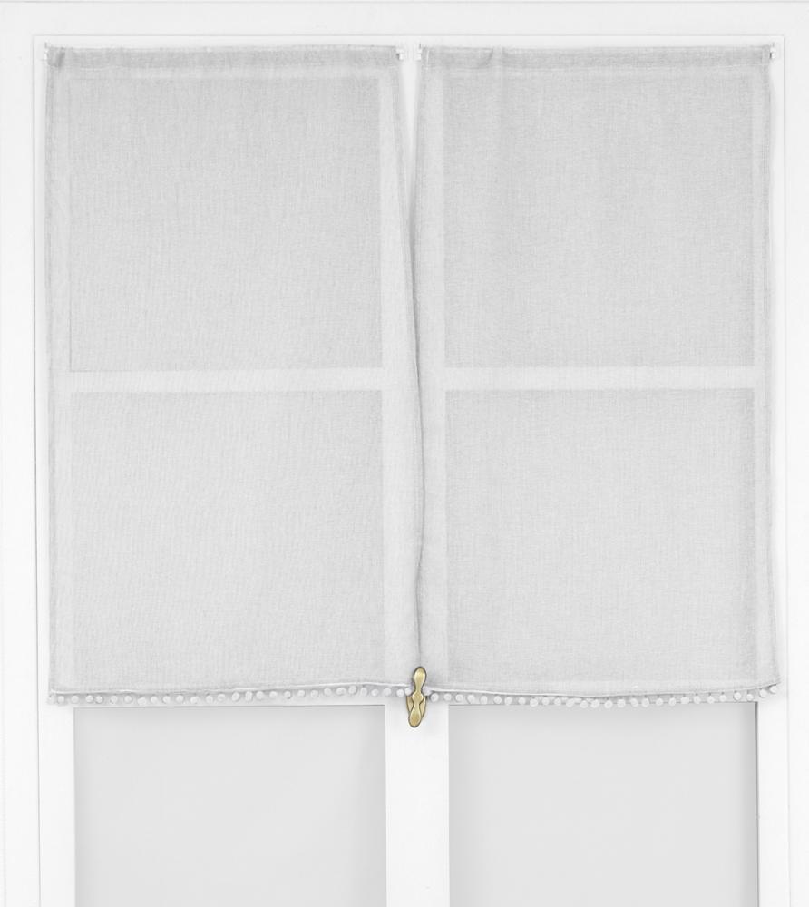 Paire de Vitrages avec Pompons - Blanc - 60 x 90cm