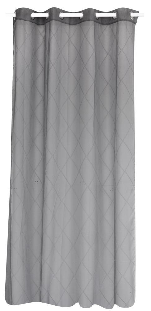 voilage satin avec motif losanges gris fonc blanc homemaison vente en ligne voilages. Black Bedroom Furniture Sets. Home Design Ideas