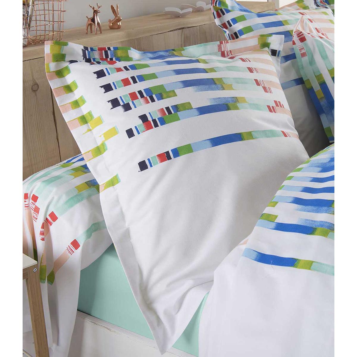 Taie d'oreiller aux rayures colorées et dynamiques (Multico)
