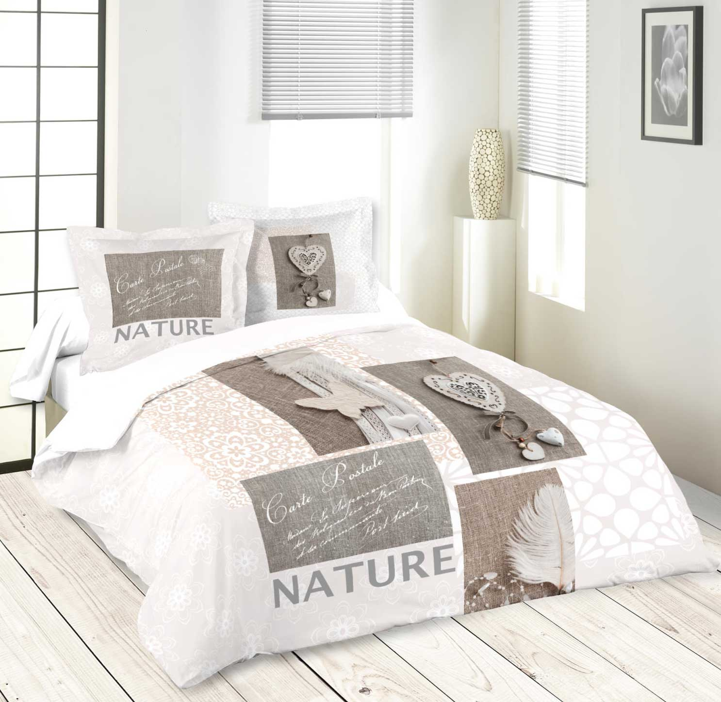 parure de lit romantique et naturelle naturel. Black Bedroom Furniture Sets. Home Design Ideas