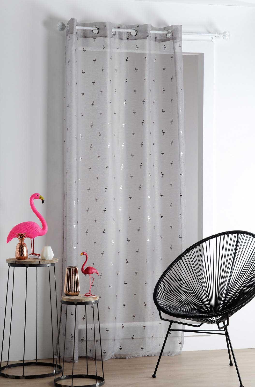 voilage aux multiples flamants roses anthracite mastic blanc homemaison vente en. Black Bedroom Furniture Sets. Home Design Ideas