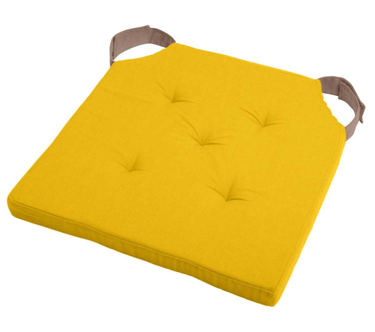 Coussin de Chaise Bicolore  (Moutarde/Taupe)