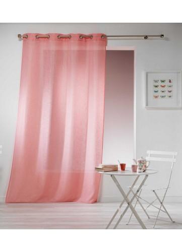 Rideau Effet Lin - Rose - 140 x 280 cm