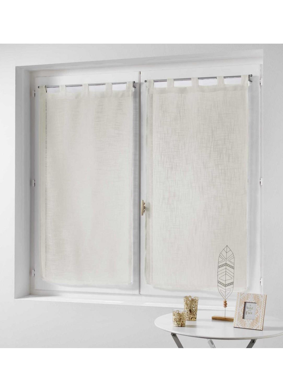 paire de rideaux effet lin naturel blanc gris rose bleu noisette ciel. Black Bedroom Furniture Sets. Home Design Ideas