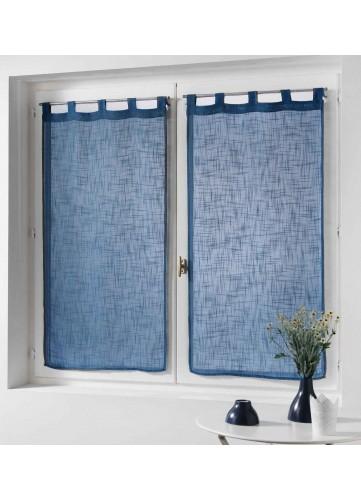Paire de Rideaux Effet Lin - Bleu - 2 x 60 x 90 cm