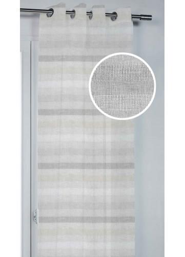 Voilage à Rayures Jeu de Tissage - Beige - 140 x 260 cm