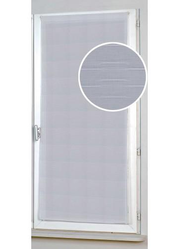 Vitrage Droit Uni et à Rayures - Blanc - 80 x 210 cm