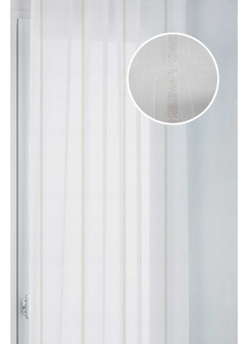 Paire de Vitrages à Rayures Nacrées - Doré - 45 x 130 cm
