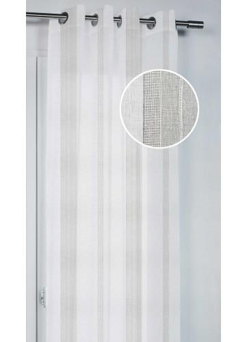 Voilage à Rayures Effet de Tissage - Beige - 140 x 260 cm