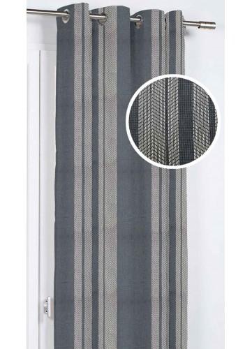 Rideau d'Ameublement aux Diverses Rayures - Marine - 140 x 260 cm