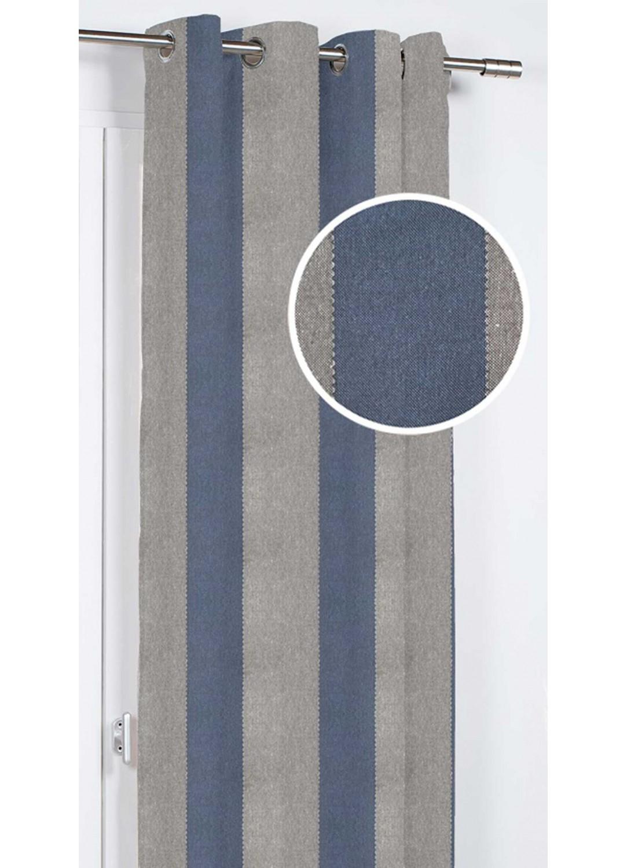 rideau d ameublement rayures et coutures bleu gris jaune homemaison vente en ligne. Black Bedroom Furniture Sets. Home Design Ideas