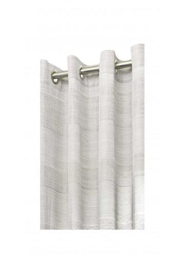 Voilage Inspiration Rayures Tissées - Gris - 140 x 280 cm