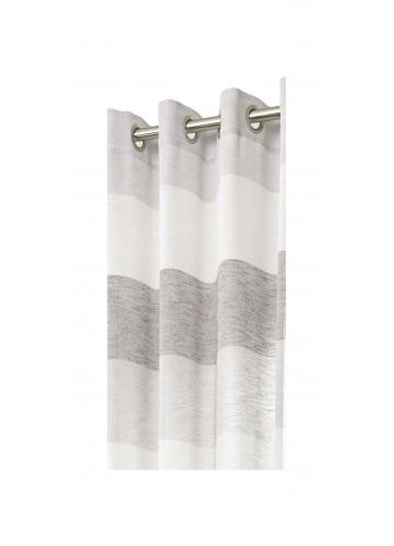 Voilage Délicat à Rayures - Gris - 140 x 280 cm
